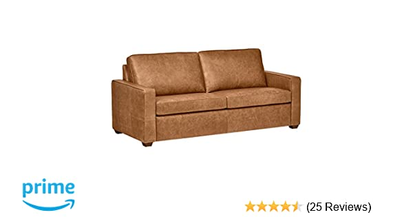 Rivet Top Grain Leather Sofa Andrews Modern Classic 82 W Cognac