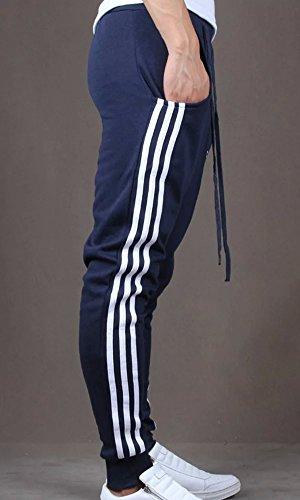 LATUD Men 3 Striped Drawstring Sports Sweatpant Athletic Harem Track Pants Navy