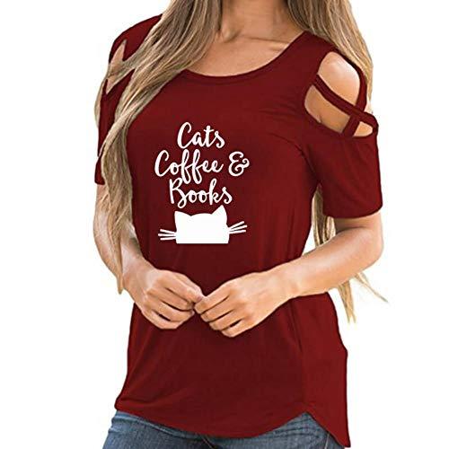 Harajuku Lovers Women T-shirt - Women Summer Cats Books Coffee Prin Harajuku Off Shoulder Student Lover Vintage T Shirts