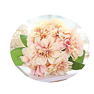 Endand Artificial Flowers Bouquet Home Decoration Wedding Supplies Dahlia Flower Silk Bridal Bouquet Wedding Bouquet,Champagne Pink 1