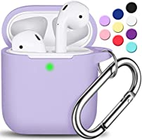 AirPods Case Cover with Keychain, Full Protective Silicone AirPods Accessories Skin Cover for Women Girl with Apple...