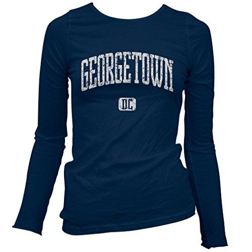 Smash Vintage Women's Georgetown D.C. Long Sleeve T-Shirt - Navy, - Washington Shops Georgetown Dc