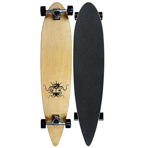 Krown KRPT-18 Krown Logo 2 Complete Longboard Skateboard, 9-Inch-by-43-Inch