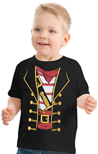 Little Boys' or Girls' Pirate Buccaneer | Cute Halloween Costume Toddler T-Shirt-(Toddler, 3T) Black