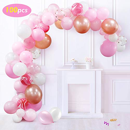 Balloon Arch Garland Kit,Party Supplies Decorations,100 PCS Balloons,for Birthday,Wedding,Graduation,Baby Shower,Anniversary Organic Party -