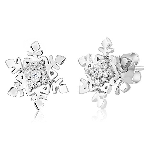Gem Stone King Gorgeous Rhodium Plated Brass Diamond Accent Snowflake Stud Earrings