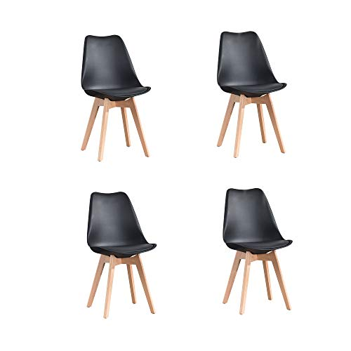 ArtDesign FR Tulip sillas de Comedor Moderno, Juego de 4, Asiento Acolchado Suave, Patas de Madera Maciza de Haya Natural, Respaldo de Forma ergonomica,Negro