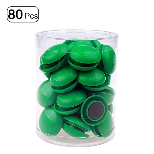 80Pcs Refrigerator Whiteboard Magnets Magnetic Button Round Plastic for Office School Green 20mm