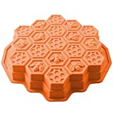 Lulu Home Honeycomb Cake Molds, 19 Cavity Silicone Honey Comb Bees Soap Mold Bakeware for Family or Party