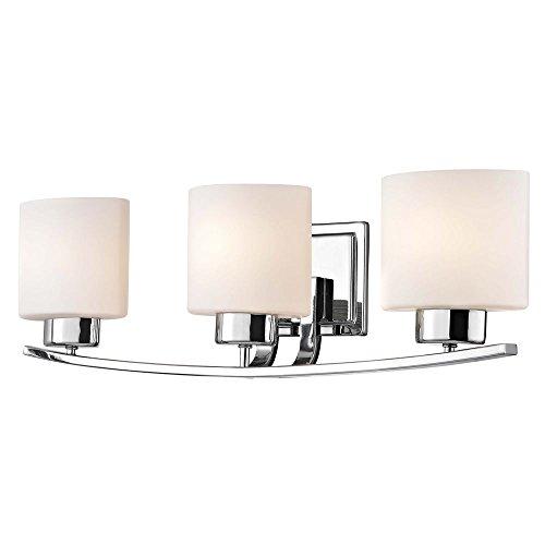 Chrome Bathroom Wall Light with White Oval Glass - Three Lights
