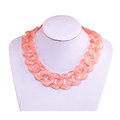 (BSJELL Resin Chain Link Necklace Statement Choker Acrylic Chunky Oversized Links Plastic Chain Wide Collar Necklace Fashion Jewelry for Women Girls(Pink))