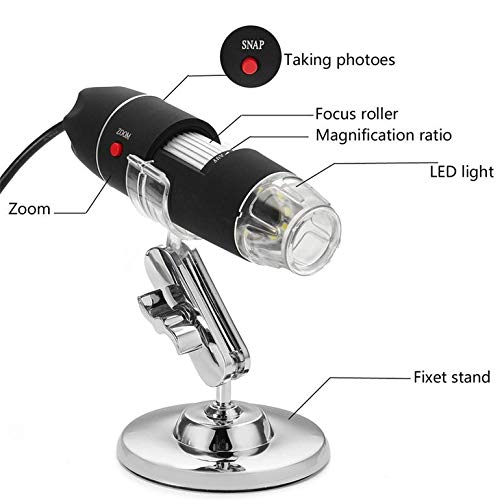 CreameBrulee Adjustable Brightness 1600X//1000X 8 LED 2MP Digital Microscope Endoscope