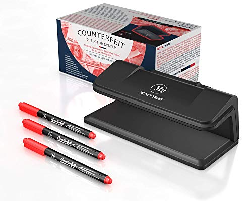 Counterfeit Bill Detector System with Ultraviolet Light and 3 Detector pens by MoneyTrust Used to Verify documents with UV Light Security Features and detect Counterfeit Bills