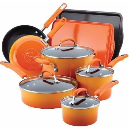 Rachael Ray Hard Enamel Nonstick 12-Piece Cookware Set (Orange) ()