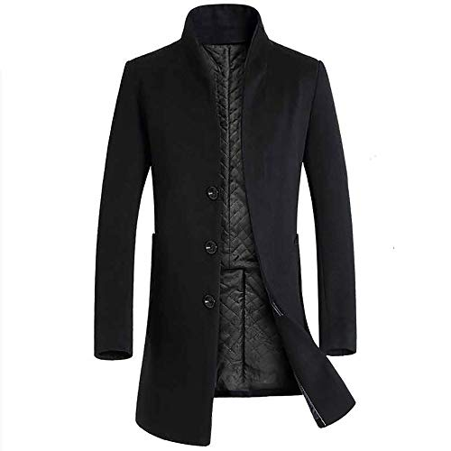 en's Trench Coat Winter Long Jacket Double Breasted Overcoat(Black, US Size L = Tag XL) ()