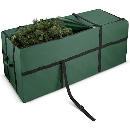 ZOBER Extra Wide Opening Christmas Tree Storage Bag - Fits Up to 9 ft. Tall Artificial Disassembled Trees, Durable Straps & Reinforced Handles - Holiday Xmas, 600D Oxford Duffle Bag (Green)
