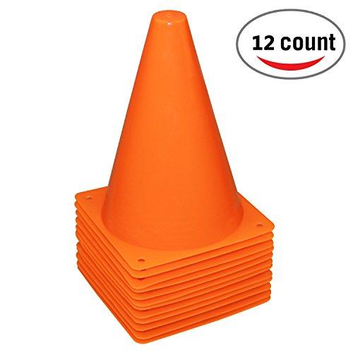 REEHUT 7.5 Inch Plastic Sport Training Traffic Cone (Set of 12, Orange) ()