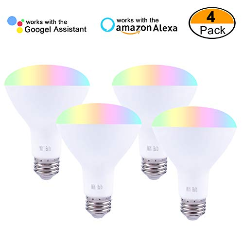 Smalux Br30 Dimmable Smart Bulb Color Changing LED RGB CCT/Warm White Bulb, Voice and Remote APP Control Bulb,Timer Switch Smart Home Lighting Bulb Work with Alexa/Google Home/IFTTT,E26 7W 4 Pack by Smalux