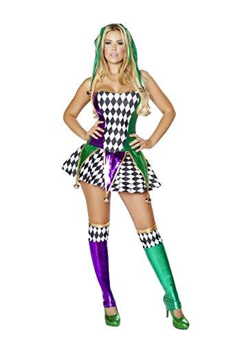 3 Piece Mardi Gras Court Jester Clown Corset & Skirt Party Costume