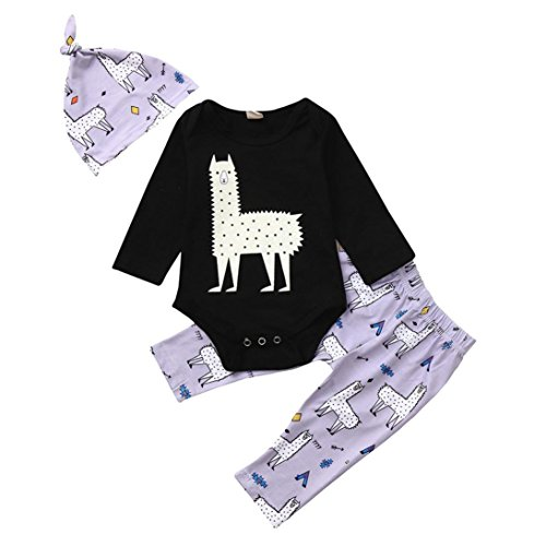 Jchen(TM) Hot Sales! Newborn Baby Boys Girls Long Sleeve Cartoon Print Tops+ Pants Cap Clothes Sets for 0-24 Months (Age: 18-24 Months) by Jchen Baby Sets (Image #1)
