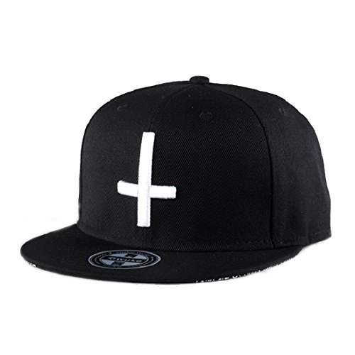 King Star Men Solid Flat Bill Hip Hop Snapback Baseball Cap Cross-Black