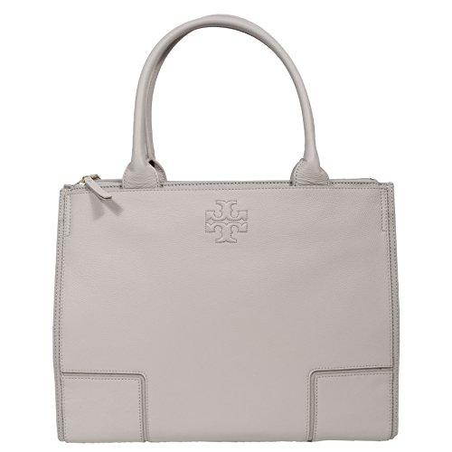 (Tory Burch Ella LARGE Leather Tote Handbag French Gray)