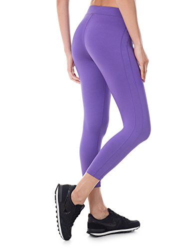SYROKAN Women's Activewear Running Workout Sports Capri Leggings Pants Blue Violet-21.5