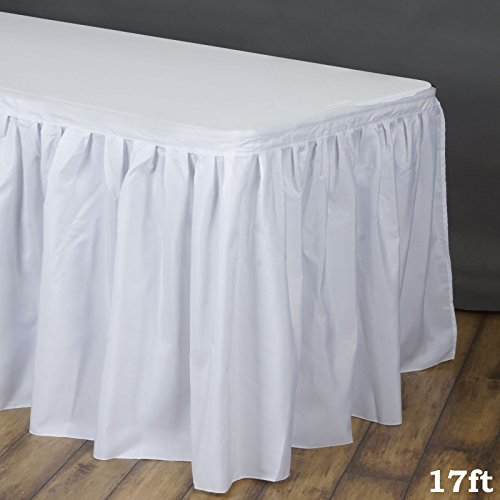LinenTablecloth 17 ft. Accordion Pleat Polyester Table Skirt White