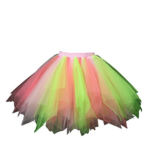 Honeystore Women's Tutu Petticoat Skirt Prom Evening Occasion Accessory Kelly Pink and Coral ()