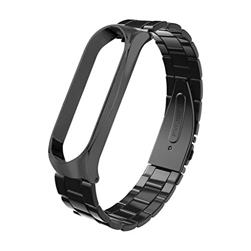 QUICATCH Compatible for Xiaomi Mi Band 4 Watch Band Fashion Stainless Steel Luxury Wrist Strap Metal Wristband (Black)