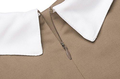Pan D'ufficio Donne Peter Bambola Vestito Lavoro Pogt Del Delle Casuale Marrone Del Manicotto Bicchierino Vestito Collare v4PnqZwYU