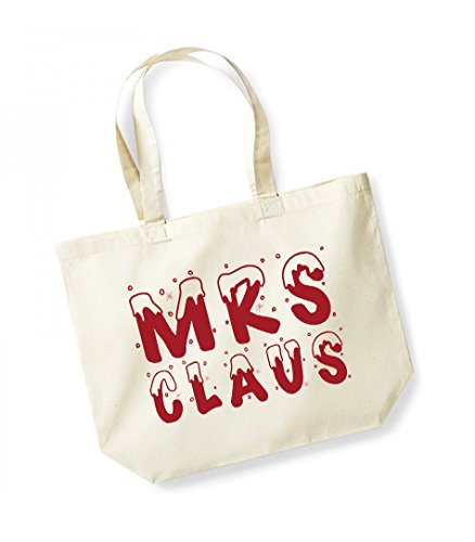 Mrs Claus - Large Canvas Fun Slogan Tote Bag Natural/Red