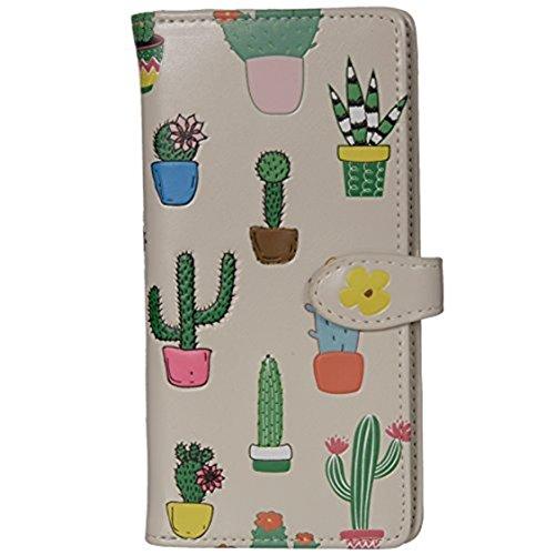 (Shag Wear Women's Large Cactus Pattern Wallet w/Zipper (Cream))