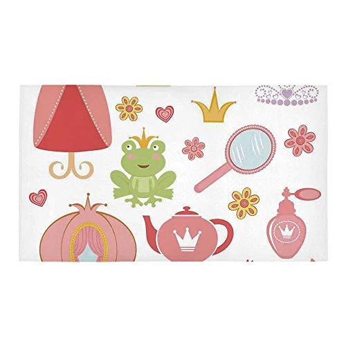 (C COABALLA Kids Decor Rectangular Bath Rug,Princess Tiara Tea Party Mirror Teapot Tea Party Frog Crown Fairy Cupcake Girls Decorative for Bathroom,28