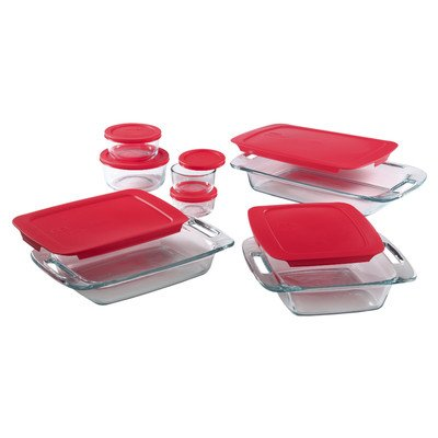 Pyrex 1088216 14pc Bake and Storage Set with Red Covers