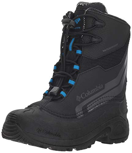 Columbia Boys' Youth Bugaboot Plus IV Omni-Heat Snow Boot Black, Hyper Blue 6 Regular US Big Kid