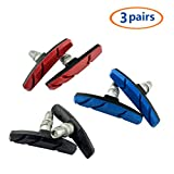 Mountain Bike Brake Pads V-Brake Pads Set 70 mm Durable Rubber No Noise No Skid Fixed Gear Bicycle v Brake Shoes Blocks for Cycling 3pairs(Red+Black+Blue)