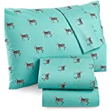 Martha Stewart WHIM Collection 100% Cotton Sheet Set B/W Zebras on a Turquoise Background (Twin)