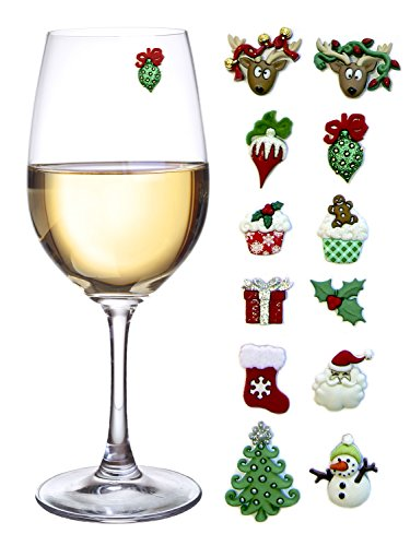 Christmas Holiday Magnetic Wine Glass Charms & Cocktail Markers Set of 12 - Great Christmas Hostess Gift or Stocking Stuffer