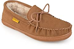 Stay cozy in style with these upscale moccasin slippers by Brumby. These sheepskin moccasins feature genuine suede uppers with an easy slip-on style. Soft genuine shearling sheep fur lining creates comfort and warmth to complete the design. T...