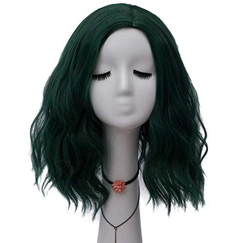 NiceLisa Lady's 40cm Super Cute Green Loose Wave Holiday Halloween Party Daily Cosplay Wigs Side Part