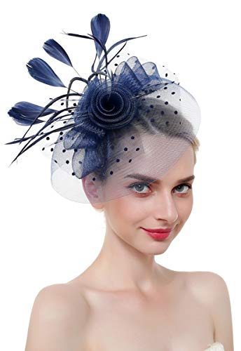 - Z&X Polka Dot Mesh Veil Fascinators for Women Flower Feather Wedding Party Hat with Headband Clip Navy Blue