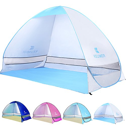 Ylovetoys Automatic Pop Up Beach Tent Sun Shelter Beach Shade Canopy Tent Anti UV Waterproof Beach Cabana Umbrella 3-4 Persons Instant Outdoor Camping Beach Tents for Outdoor Activities (Silver)