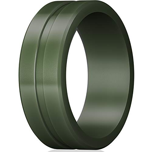ThunderFit Men's Silicone Ring Rubber Wedding Band - 1 Ring (Olive Green, 8.5-9 (18.9mm))
