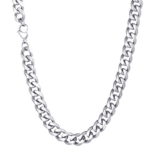 U7 Men 12MM Turnover Miami Cuban Chain Stainless Steel Chunky Jewelry Women Thick Curb Link Necklace 26-Inch