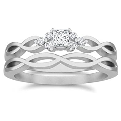 531266708dd 0.63 Carat Bridal Set Princess Cut Diamond on 18K White gold  JeenJewels   Amazon.co.uk  Jewellery