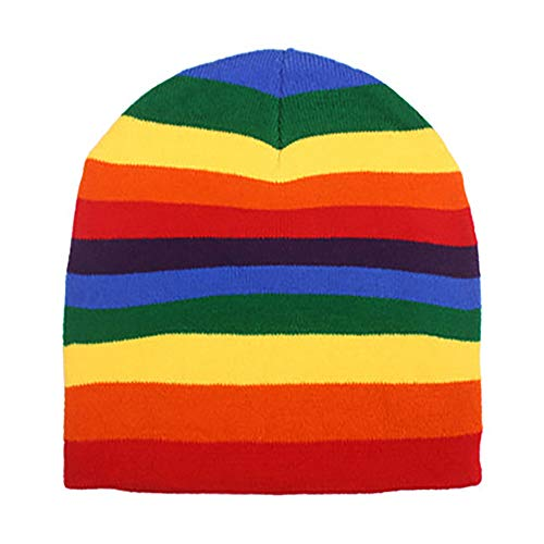 (Rainbow Stripe Stripped Multi Color Knit Beanie Stocking Cap Winter Hat)
