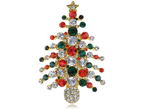 (Alilang Crystal Rhinestone Winter Golden Christmas Tree Noel Holiday Pin Brooch)