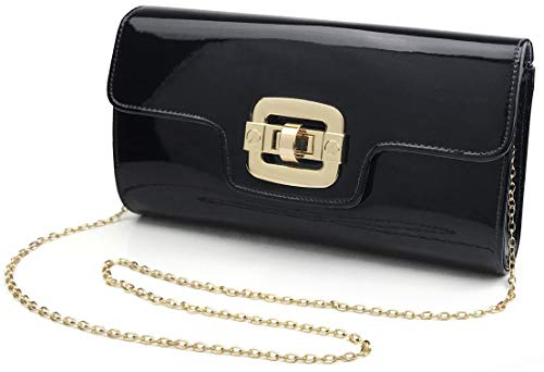 Glossy Faux Patent Leather Evening Clutch Women Chain Shoulder Bag Twist Locked Purse (Black)