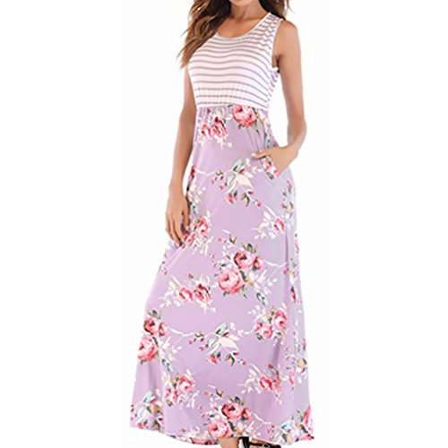 TOPUNDER-Women-Boho-Long-Maxi-Dress-Ladies-Sleeveless-Round-Neck-Print-Summer-Casual-Dress